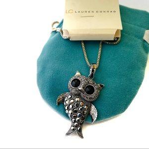 Lauren Conrad Mermaid Owl Pendant Long Necklace 22
